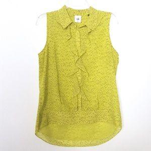 CAbi Greenish Yellow Reign Ruffle Sleeve Blouse S